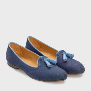 zapato plano azul